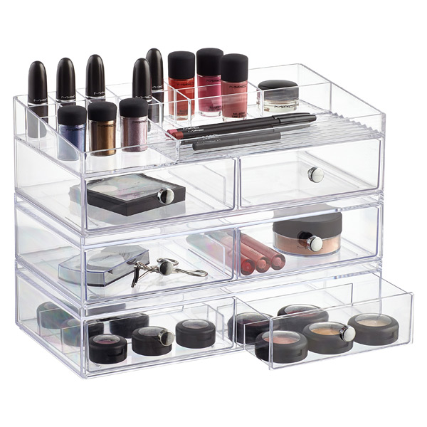 Clarity Wide Stackable Makeup Storage Collection The Container Store - Container store makeup organizer