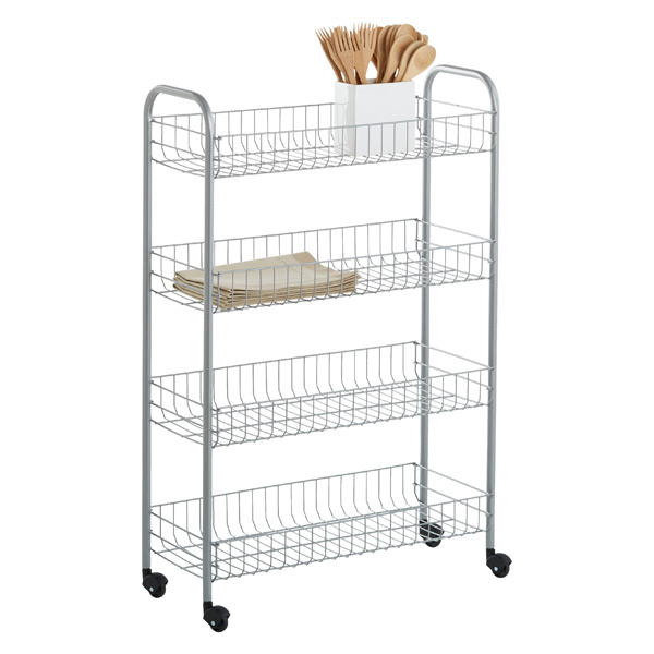 Silver 4-Tier Slim Rolling Cart