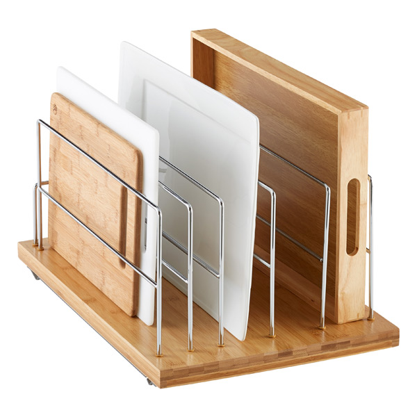 Bamboo 14 pull out kitchenware divider the container store for Bamboo kitchen cabinets for sale