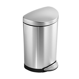 simplehuman Stainless Steel 2.6 gal. Semi-Round Step Trash Can