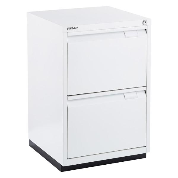 Bisley White Premium 2 Drawer Locking Filing Cabinet The