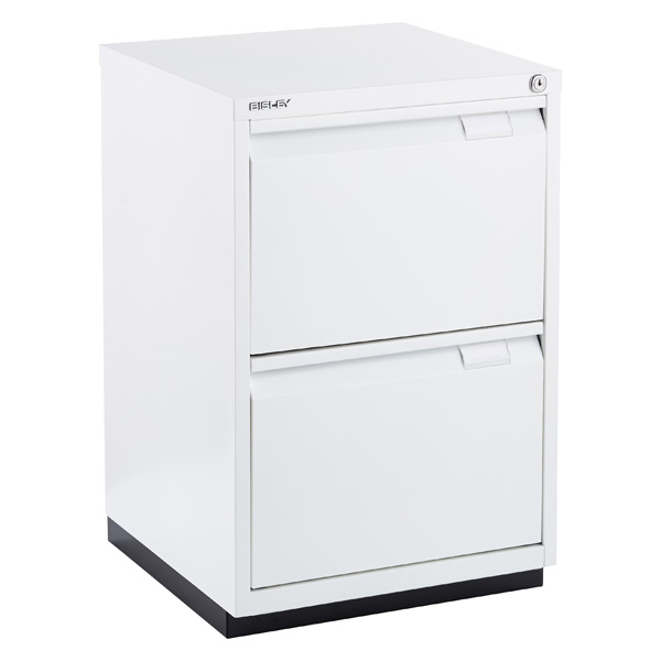Bisley White Premium 2 Drawer Locking Filing Cabinet The Container