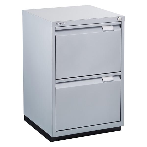 Bisley Silver Premium 2 Drawer Locking Filing Cabinet