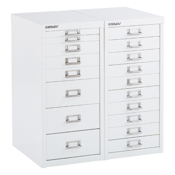 Bisley White 8- & 10-Drawer Collection Cabinets