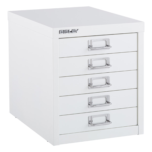 Bisley White 5-Drawer Cabinet