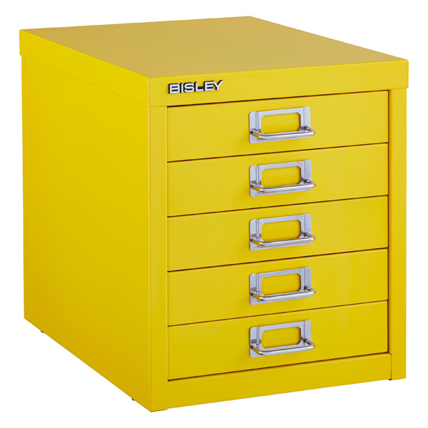 Yellow Bisley 5 Drawer Cabinet ...