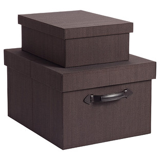 Espresso Fabric Parker Storage Boxes