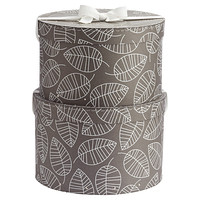 Grey & White Leaves Classic Hat Box Set