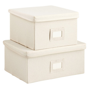 Natural Canvas Storage Boxes with Lids