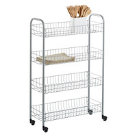 luxor office stainless rolling cart silver shelf three supplies free steel kitchen product