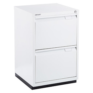 Bisley White Premium 2-Drawer Locking Filing Cabinet