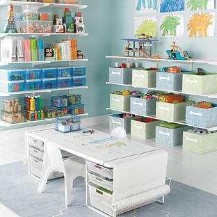 White Elfa Playroom Kids Coloring Table The Container Store