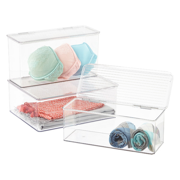 Hinged-Lid Stackable Boxes