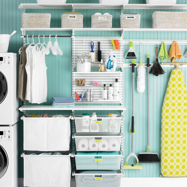 Best Laundry Room Location: White Elfa Utility Deluxe Laundry Room
