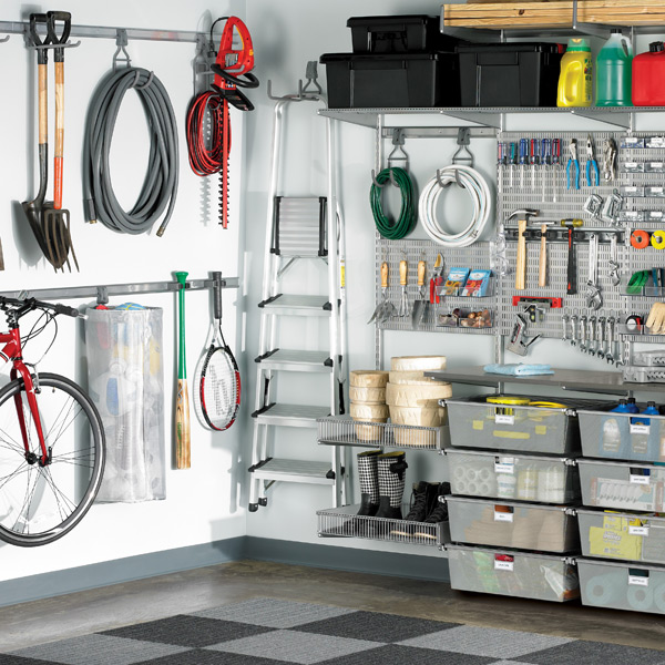used store fixtures for garages idaho falls ideas - Garage Wall Storage System Platinum elfa utility Deluxe