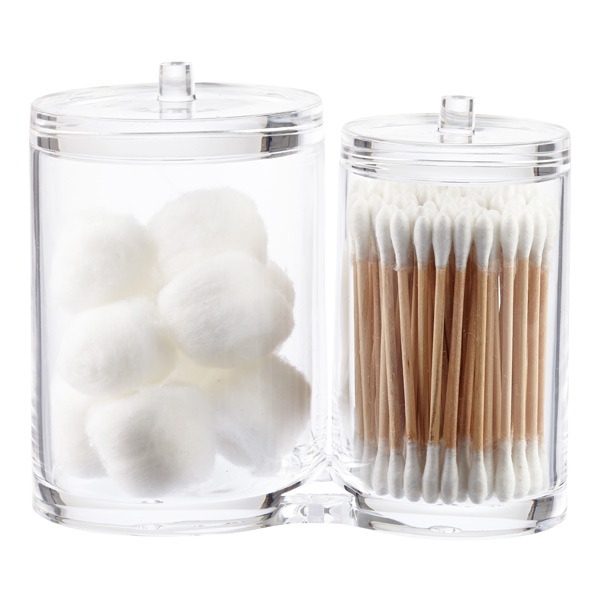 Acrylic dual canister set the container store - Plastic bathroom storage containers ...