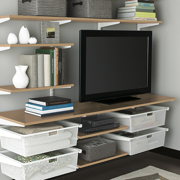 Coffee white elfa living room the container store for Elfa desk system