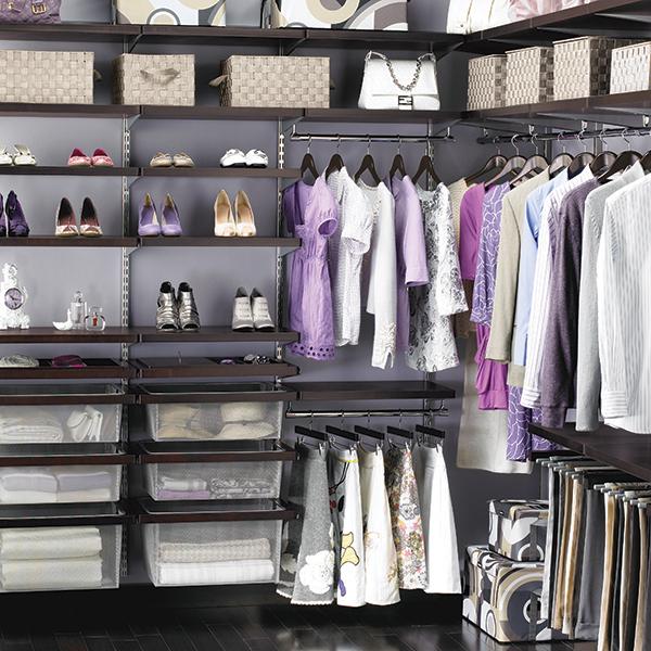 Walk In Closet Solutions: Walnut & Platinum Elfa Décor Walk-In Closet