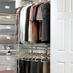 Platinum Elfa Loft Walk In Closet The Container Store