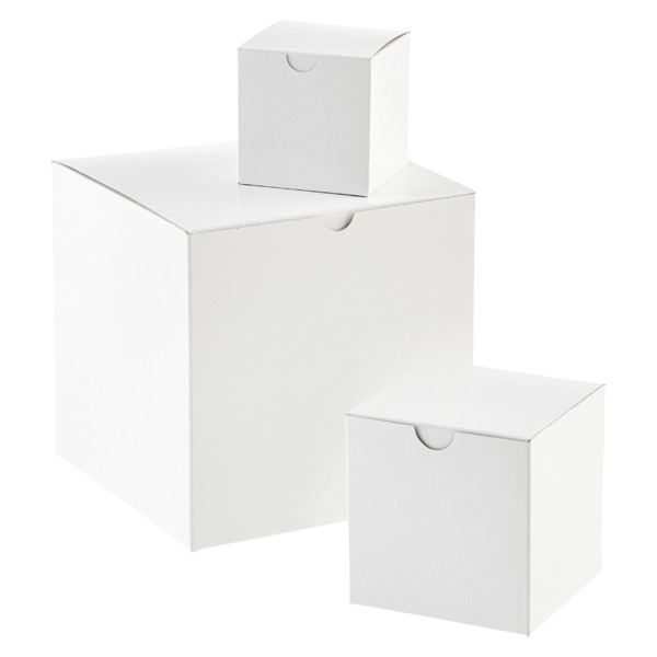 white 1 piece cube gift boxes the container store. Black Bedroom Furniture Sets. Home Design Ideas
