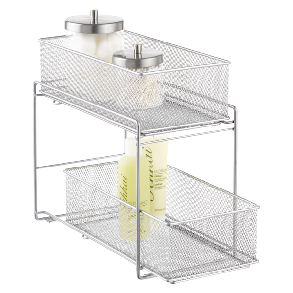 Silver 2-Drawer Mesh Organizer  sc 1 st  The Container Store : pull out under cabinet storage - Cheerinfomania.Com