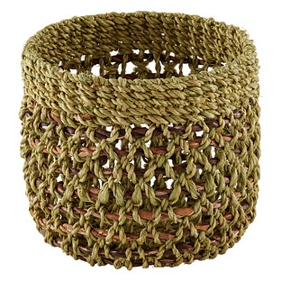 Small Round Woven Abaca Storage Basket