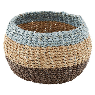 Small Round Woven Tahiti Colorblocked Storage Bowl