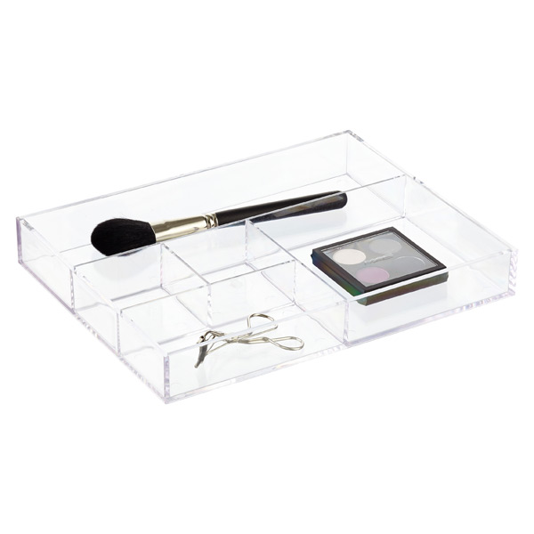 Section Acrylic Divided Tray The Container Store - Container store makeup organizer