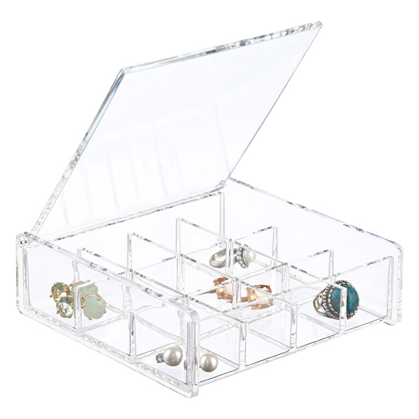 12-Section Acrylic Square Hinged-Lid Box