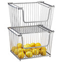 Large Silver York Open Stackable Basket