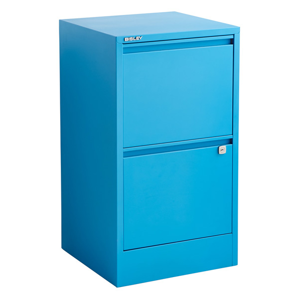 Bisley Cerulean Blue 2 3Drawer Locking Filing Cabinets The