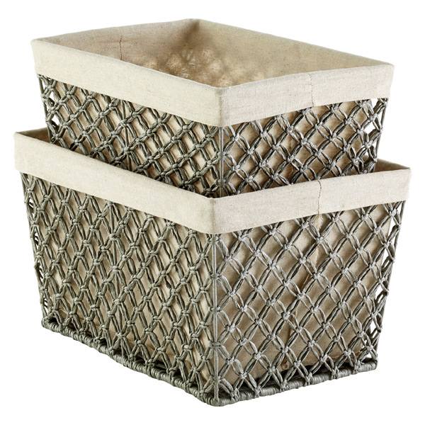 Grey Lattice Storage Bins
