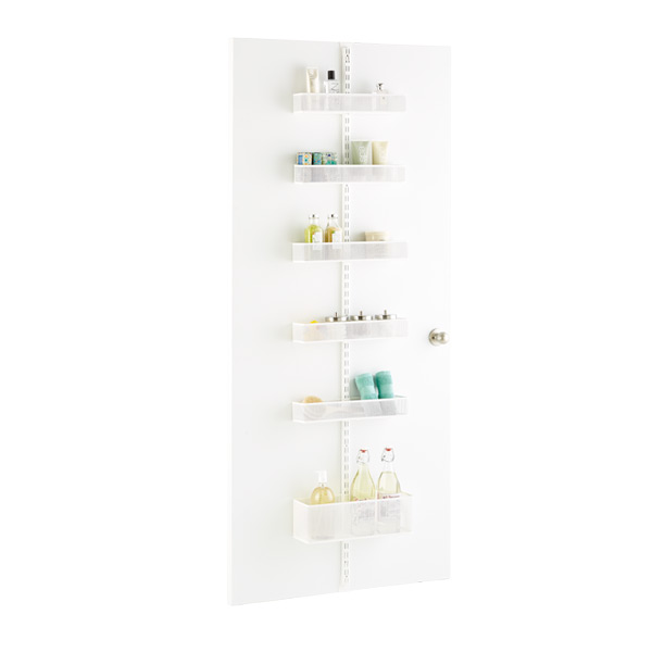 White Bathroom Door and Wall Rack Solution