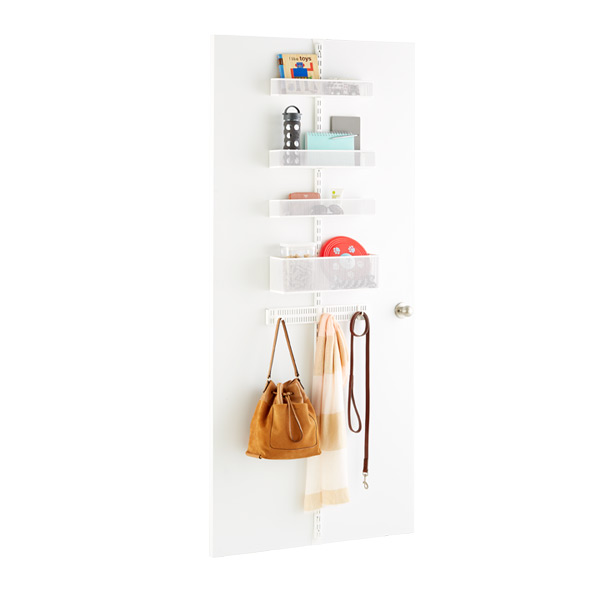 White Elfa Utility Mesh Drop Zone Door & Wall Rack Solution