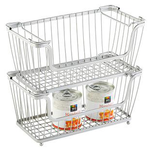 InterDesign Small Silver York Open Wire Stackable Basket