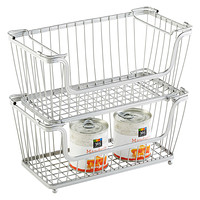Small Silver York Open Stackable Basket