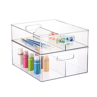 iDesign Linus Clear Divided Stackable Bins with Handles