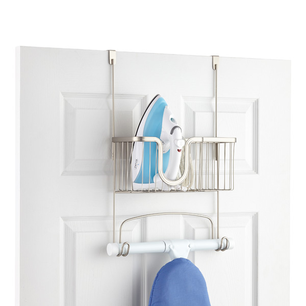 iDesign Over the Door York Ironing Board Hanger with Utility Basket