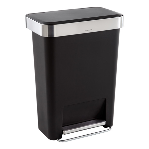 Simplehuman black 12 gal rectangular trash can with liner for Simplehuman trash can
