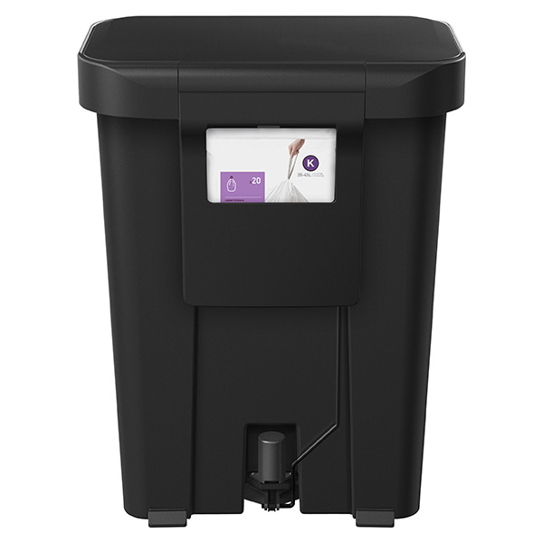 simplehuman black 12 gal rectangular trash can with liner pocket the container store. Black Bedroom Furniture Sets. Home Design Ideas