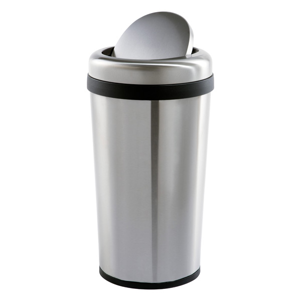 stainless steel 12 gal round swing lid trash can the container store. Black Bedroom Furniture Sets. Home Design Ideas