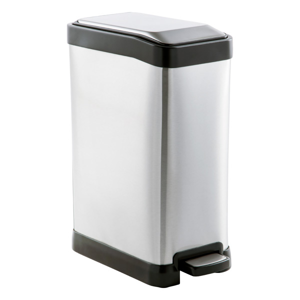 Stainless steel 2 gal rectangular step trash can the container store - Rectangular garbage cans ...