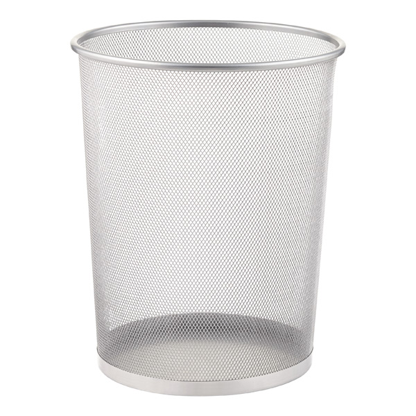 Waste Basket silver mesh trash can | the container store