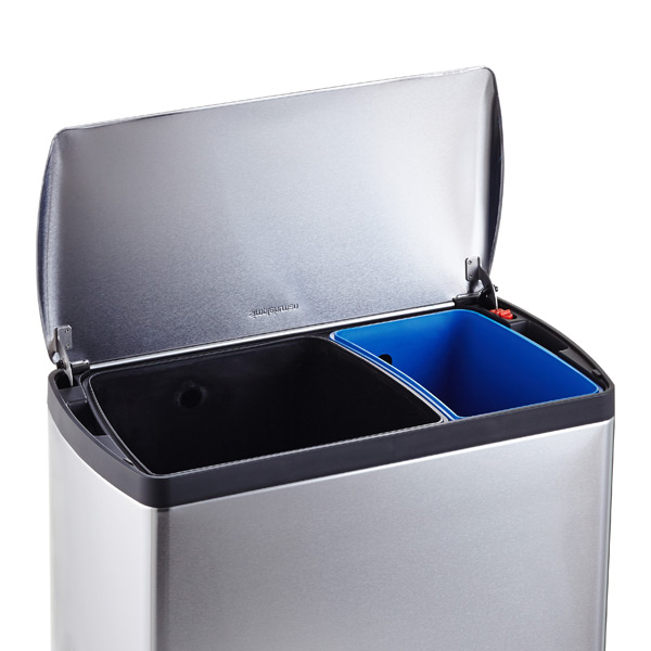 simplehuman stainless steel 12 gal 2 bin recycle bin the container store. Black Bedroom Furniture Sets. Home Design Ideas