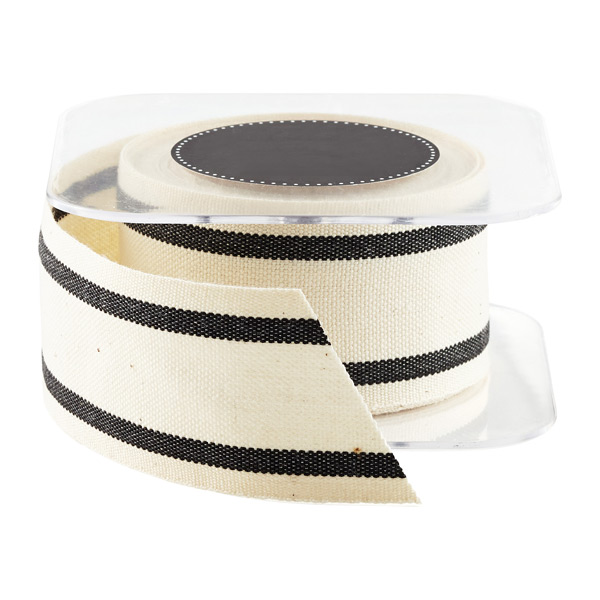 Black Wide Striped Cotton Ribbon