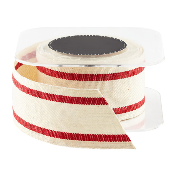 Red Wide Striped Cotton Ribbon
