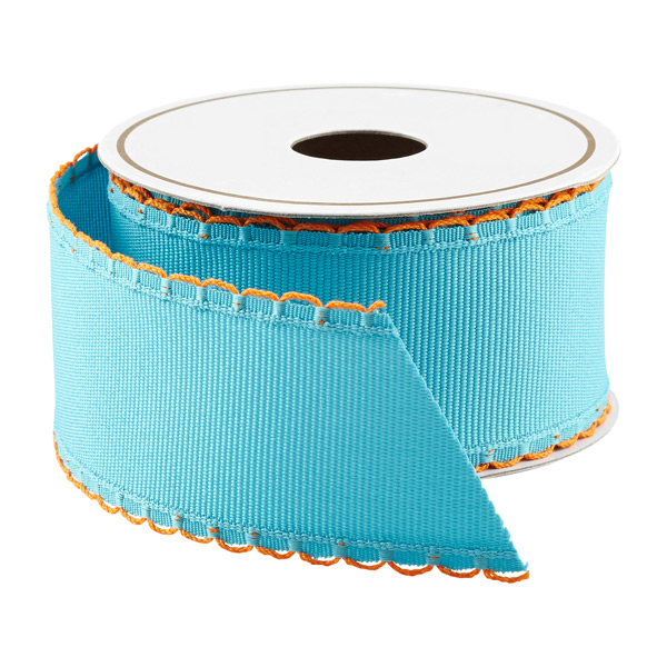 Turquoise & Orange Grosgrain Wired Ribbon
