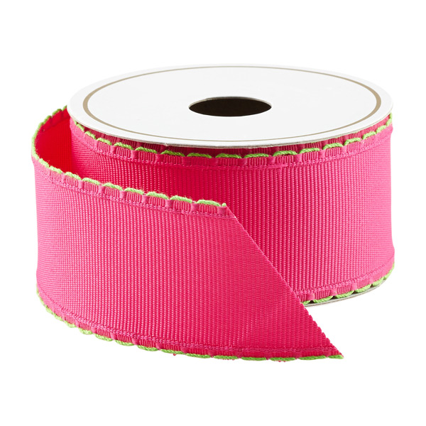 Fuchsia & Lime Grosgrain Wired Ribbon