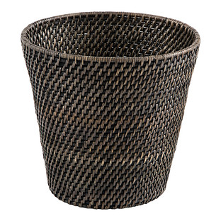 Blackwash Rattan Trash Can