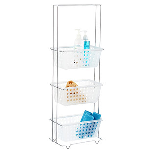 Chrome 3-Tier Storage Tower with Clear Baskets